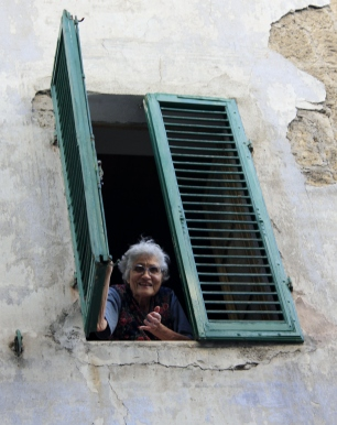 Old lady in Window