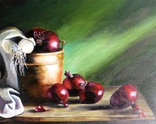 Red Onions and Copper Pot - $265 - 50cm x 40cm SOLD