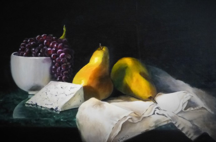 Grapes Cheese and Pears On Linen - $350 - 75cm x 50cm