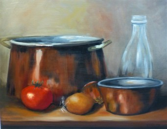 Copper Pots, 50x40cm Oil on stretched canvas - $355