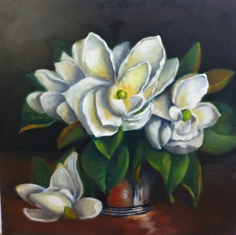 Magnolia in Silver Vase 45x45cm - Oil on stretched canvas - $225