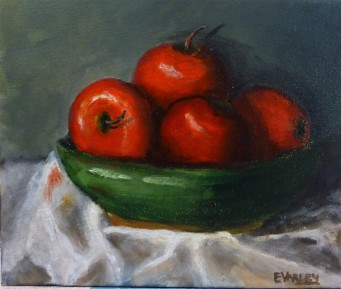 Red Apples and Green Bowl 30x25cm - Oil on stretched canvas - $150