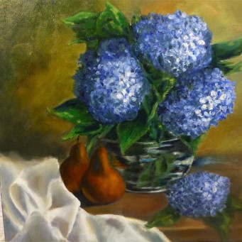 Hydrangeas and Pears - 45x45cm - Oil on stretched canvass - SOLD