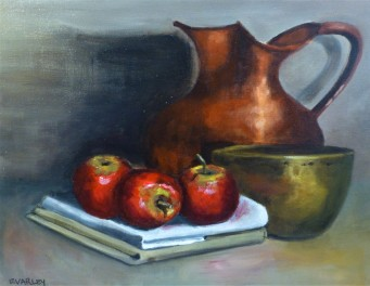 Red Apples and Copper Jug - 40x40cm - Oil on stretched canvas - $400