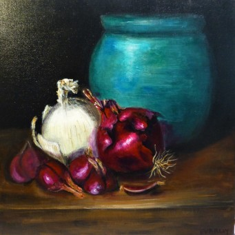 Onions and Blue Pot - 40 x 40cm - Oil on stretched canvas - $275