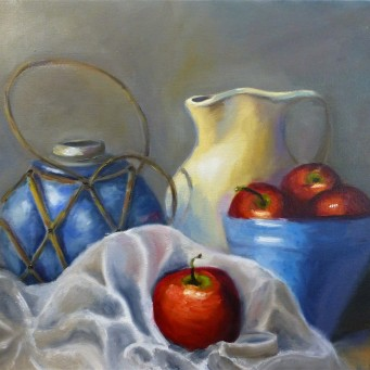 Apples and Jug 50x40cm, Oil on stretched canvass - $275